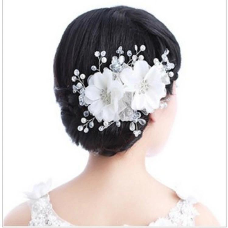Wholesale European and American fashion handmade bridal headdress head flower pearl crystal wedding tiara wedding accessories