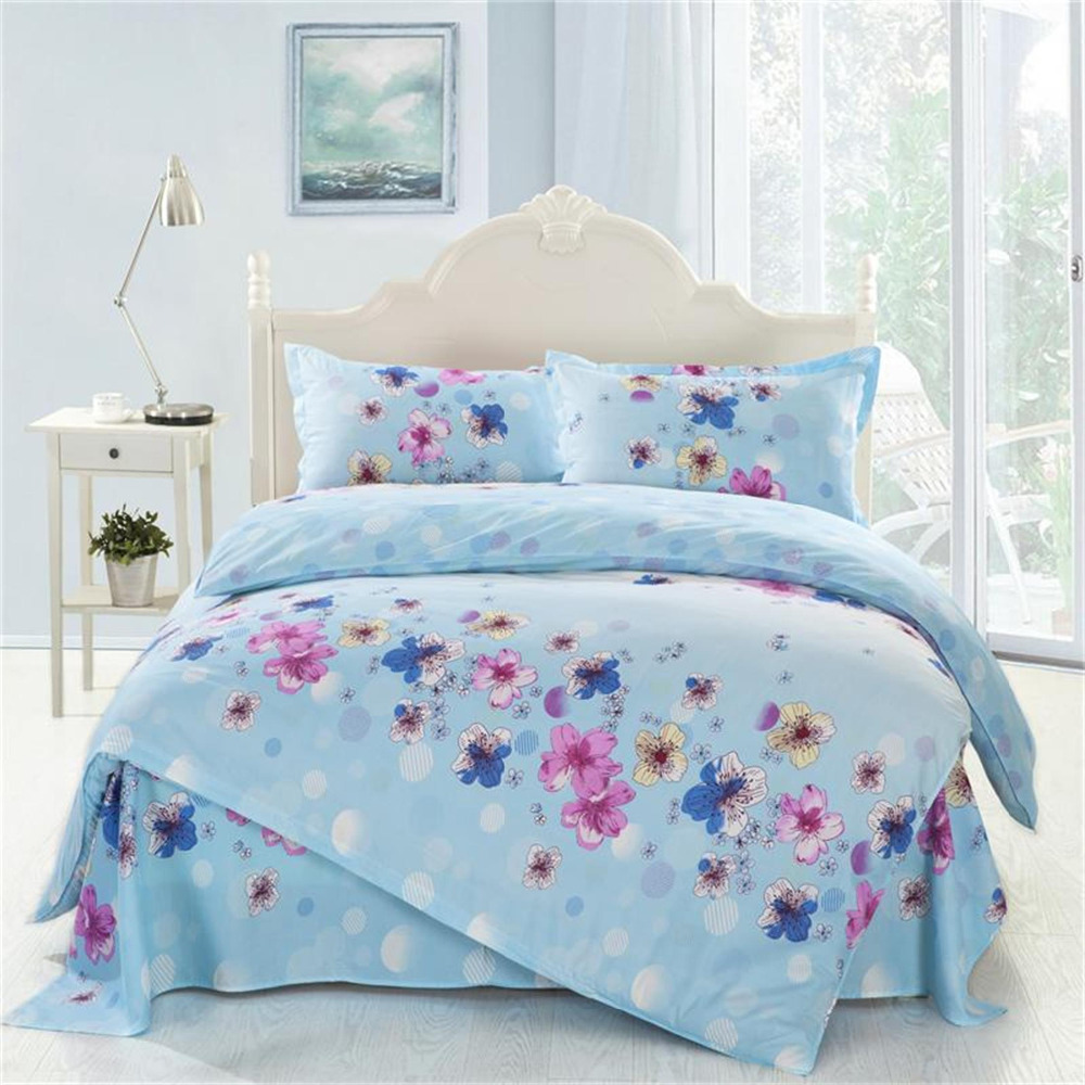 4pcs Twin Full Size Blue White Green Yellow Floral Bedding Girls Comforter Sets Luxury Bedding