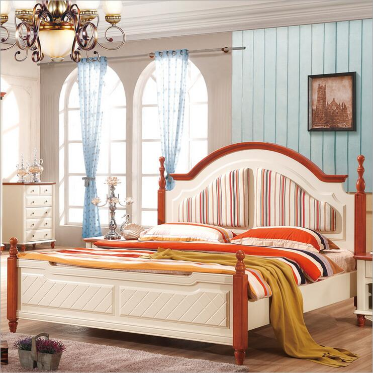 Mediterranean rustic wood bed American country side bedroom furniture p10254(China (Mainland))