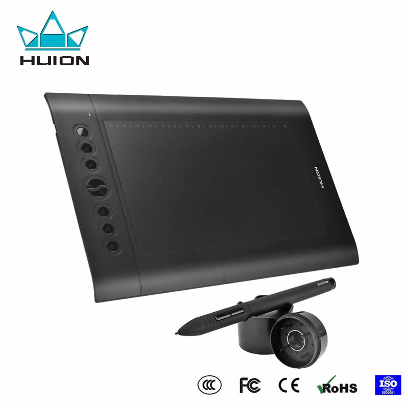 Фотография Huion H610 Pro Graphic Drawing Tablet 4000 LPI 220 RPS 2048 Levels Rechargeable Digital Pen Tablets Professional Signature Pad