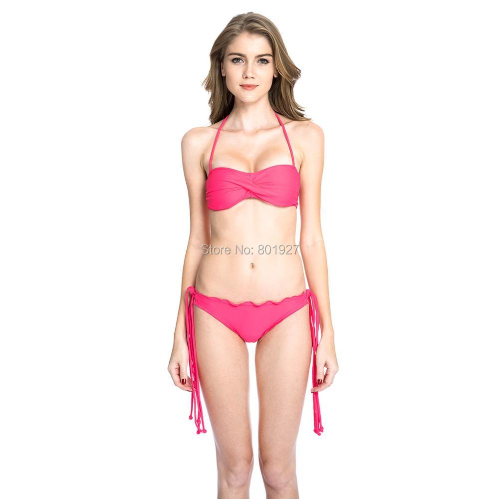 Colloyes 2016 Fresh Watermelon Red Twist Bandeau Top and Scrunch Butt Bikini Swimwear with Multiple Straps(China (Mainland))