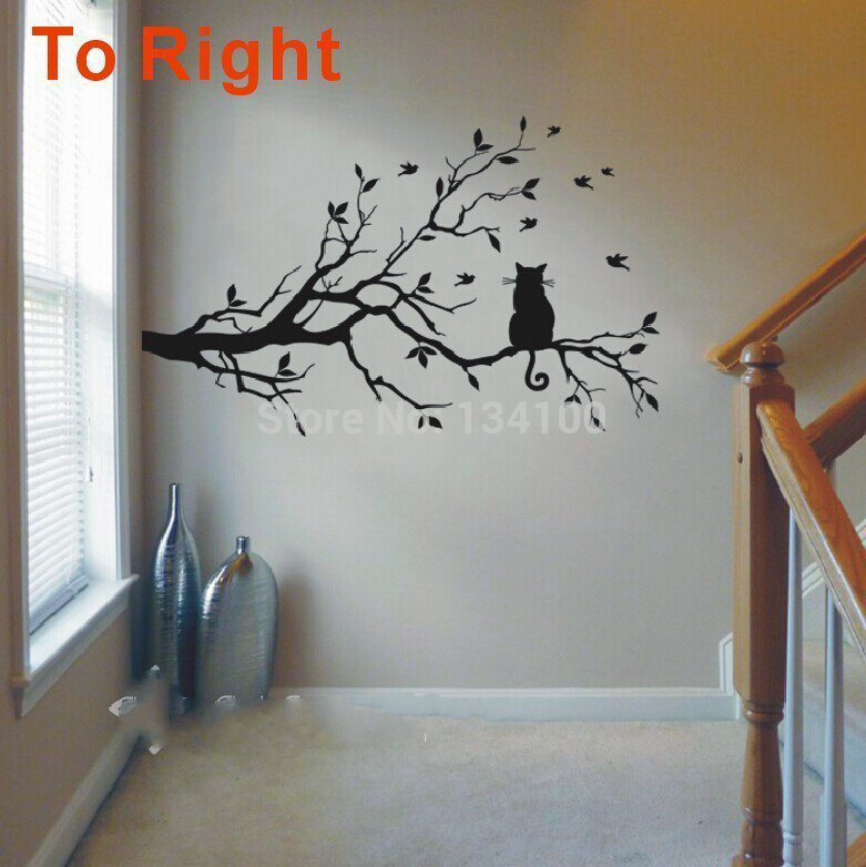 Newly One Cat On Long Tree Branch DIY Vinyl Wall Sticker Animals Birds Wall D