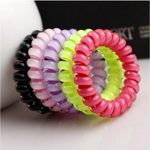 10pieces/lot Mix Color Wholesale Candy Color Headdress Hiar Band Flower Printing Design Telephone Line Elastic Hair Rope(China (Mainland))