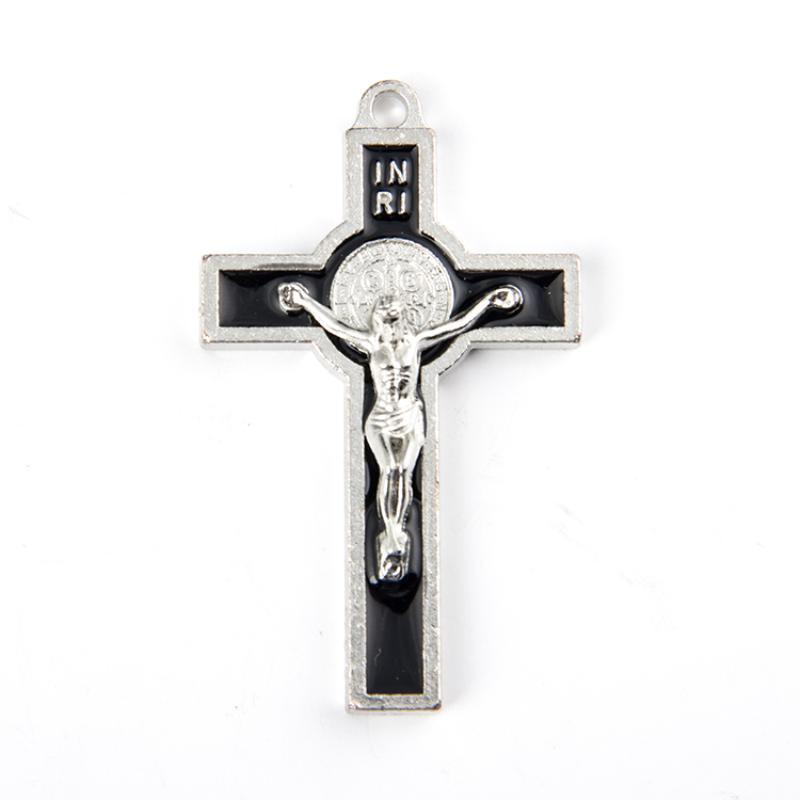 12pcs/lot Decorative Red Blue White Black Enameled Metal Jesus Crucifix Catholic St. Benedict Cross Pendant Necklace Pendants(China (Mainland))