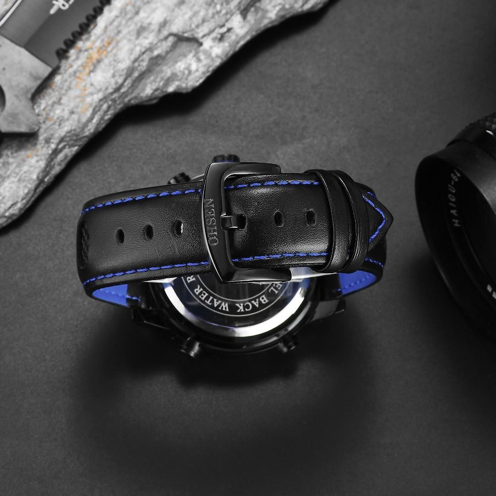 Мужчины Кварцевые Часы Спортивные Часы OHSEN Натуральная Кожа Цифровой Военная Топ Мода Повседневная Relogio Masculino Открытый Наручные Часы