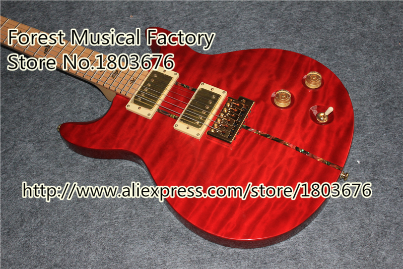 Wholesale & Retail Red Quilted Finish Santana Signature PRS Guitars Electric Chinese Guitar Body & Kit Custom Available(China (Mainland))