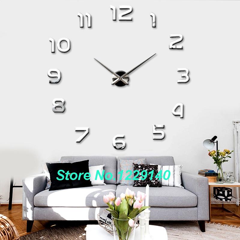 새로운 패션 큰 번호 벽 시계 diy 3d 거울 스티커 홈 장식 예술 ...
