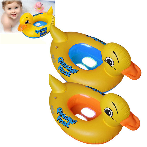 New Kids Baby Swimming Ring Yellow Cartoon Duck Inflatable Swim Ring Circle Pool Inflatable Float Boat For Girl Children Kids(China (Mainland))