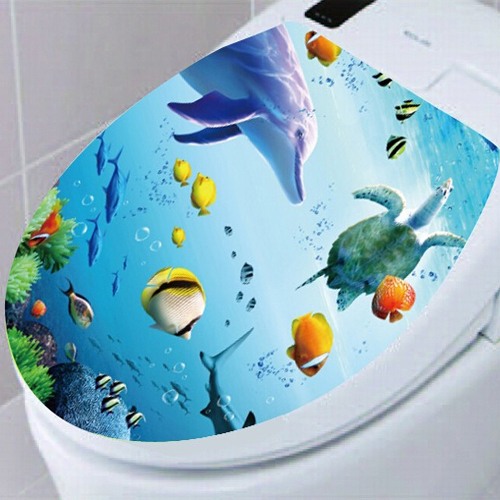 3D toilet sticker decor removable PVC vinyl wall stickers on the toilet waterproof bathroom home decal mural free shipping(China (Mainland))