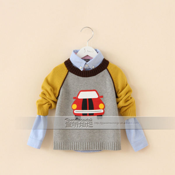 New 2015 baby boys car sweater child kids shirts kids boys clothes all for children clothing and accessories A143 F0712-12Z1(China (Mainland))