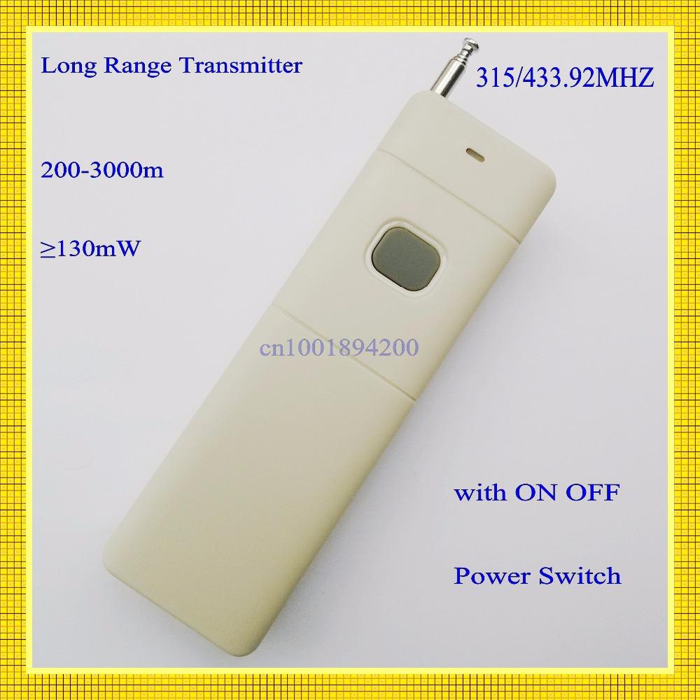 3000m Remote Control Transmitter RF Radio Remote 315/433 Long Range Distance High Power Transmitter TX 1CH Big Button 2262(China (Mainland))