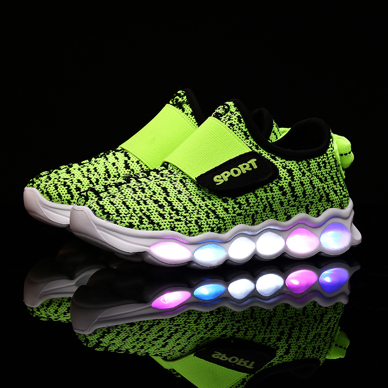 New Arrival Kd 8 Colorful Breathable Mesh Casual Yeezy Shoes 2016 6 Colors Children's Glowing Chaussure Led Kids Light Up Shoes(China (Mainland))