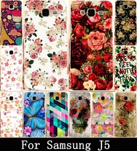 Rose Peony Flower Soft TPU & Hard PC Protector Case Cover Samsung Galaxy J5 2015 J500F YC955 5.0 inch Shell Phone Bags Cases - R-mart store