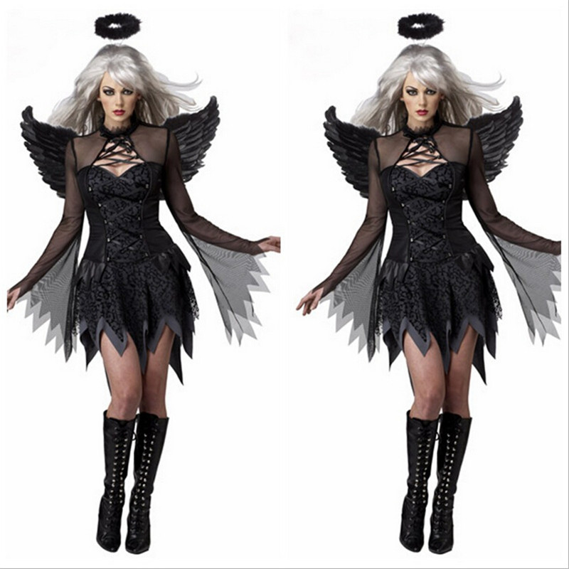 2015 Dark Angel Dress Sexy Cosplay Costumes Movie Roles Halloween Cosplay Costume Devil Dress(China (Mainland))