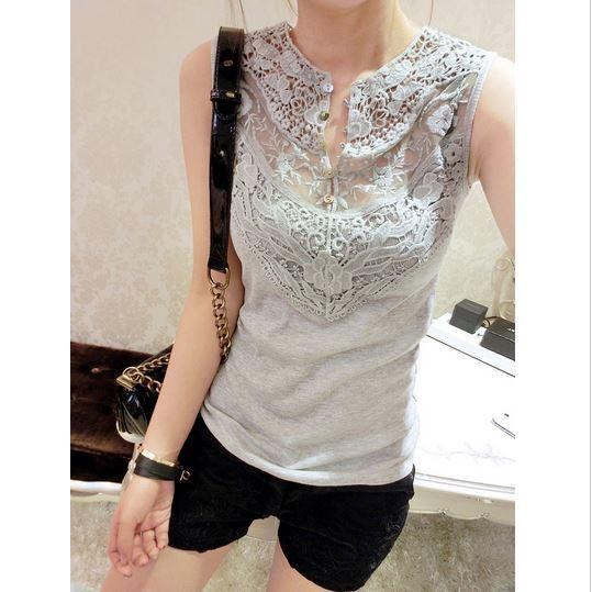 Wholesale Womens 2014 Sleeveless Cotton Tank Lace T Shirt Patchwork Slim Crochet Vest(China (Mainland))
