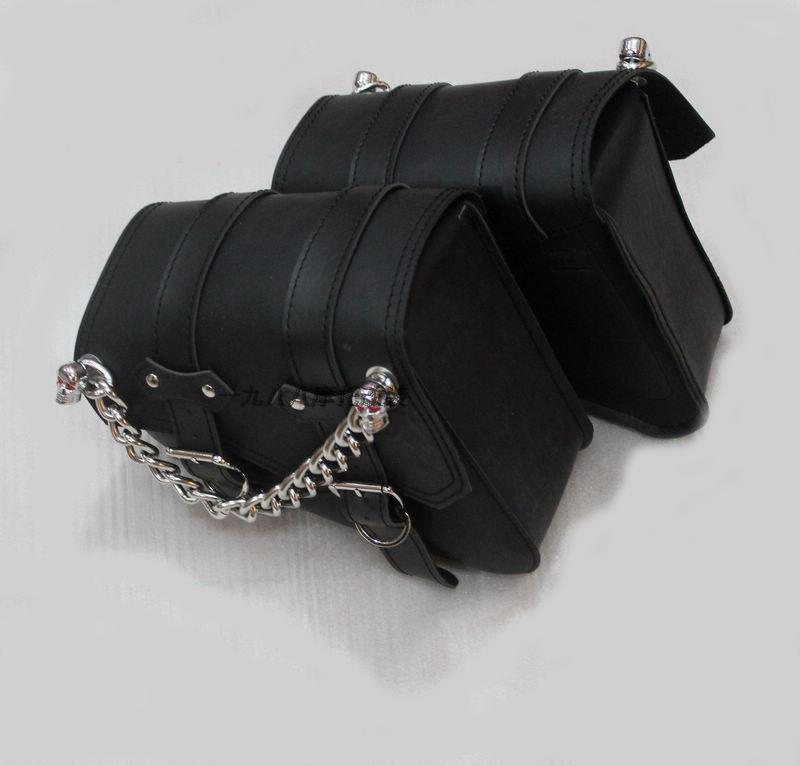 Free shipping motorcycle modified car side saddle  Bag edging box side bag kit bag with skeleton knight chains