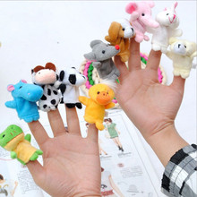 Baby Plush Toys Cartoon Happy Family Fun Animal Finger Hand Puppet Kids learning education Gifts Wholesale ALLIKE pie face(China (Mainland))