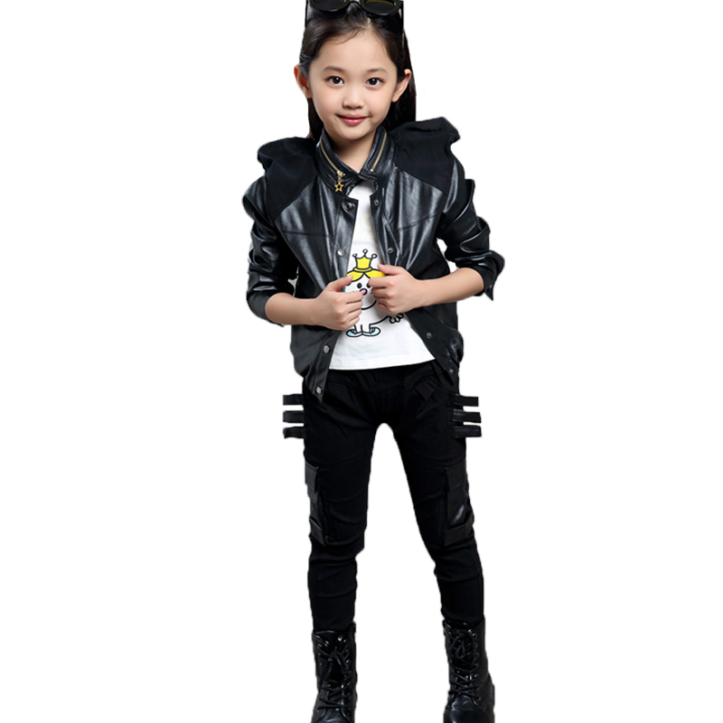 Fashion girl tracksuit new autumn children clothing sets leather cool girl sets suits kids brand cotton sets clothes kids suits(China (Mainland))