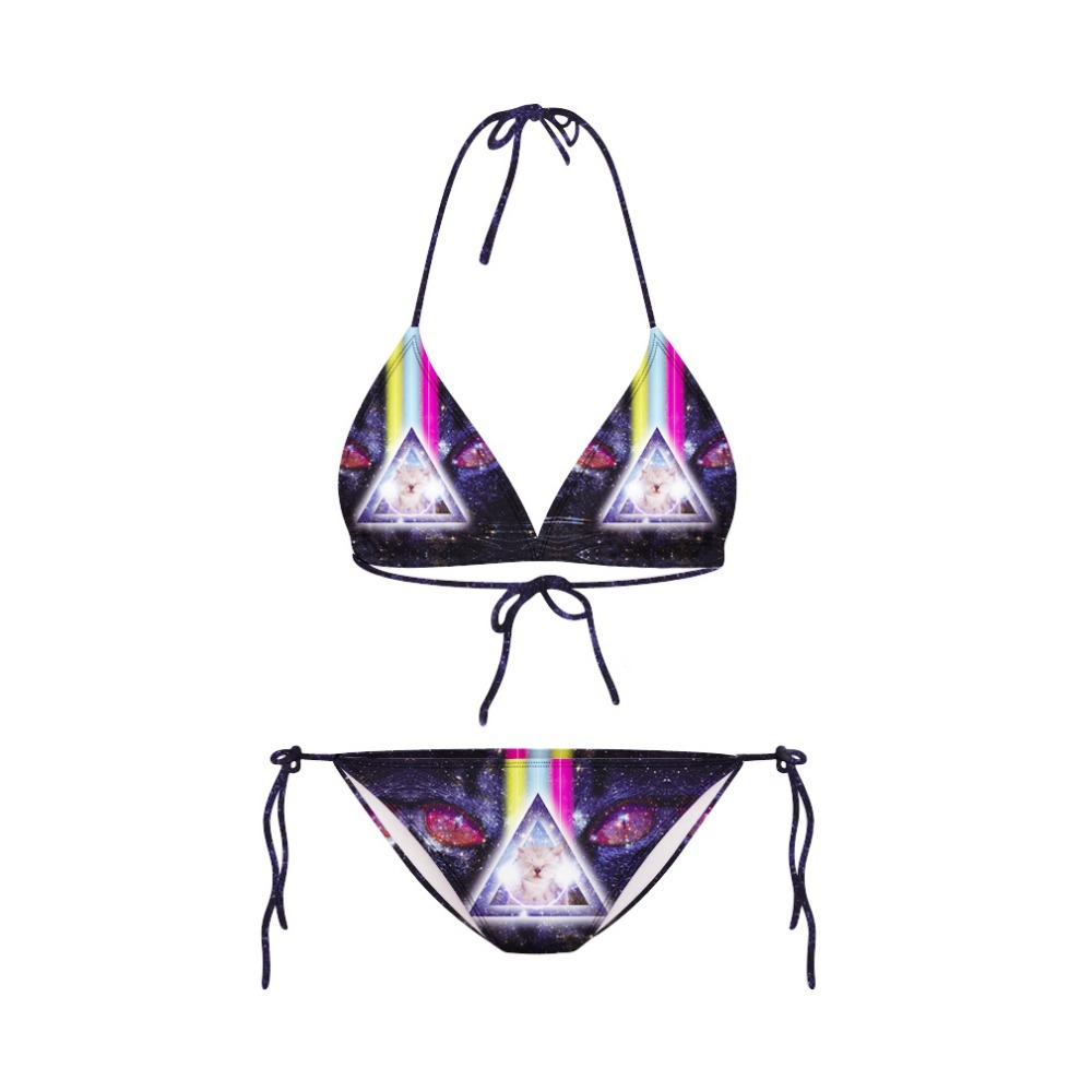 2015 Newest Sexy Women Bikini galaxy Terror With Cat Rainbow 3D Print Swimsuit Two Pieces Bathing Suit casual beach wear(China (Mainland))