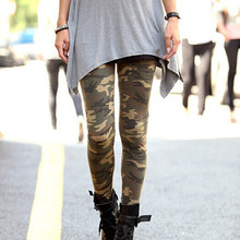 Womens Graffiti Style Slim Camouflage Stretch Trousers Army Tights Pants free shipping&DropShipping(China (Mainland))