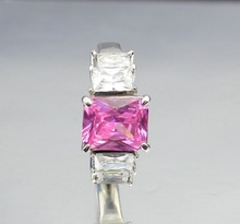 Fashion women engagement rings ruby jewelry stainless steel ring pink cz diamond design for women