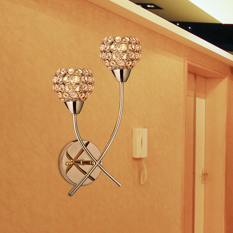 Modern brief k9 crystal gold double slider wall lamp ofhead mirror stair wall frha b16