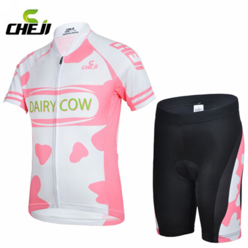 CHEJI Childrens Ropa Ciclismo Cute Pink Outdoor Sports Short Sleeve Jersey Bike Cycling Bicycle Shorts Set Kits(China (Mainland))