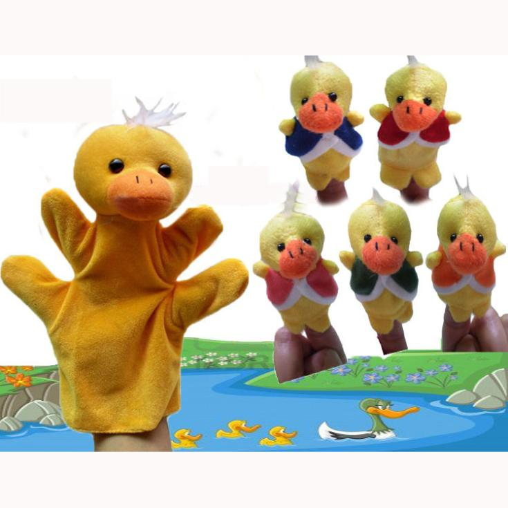 World Nursery Rhyme Muppets-Five Little Ducks Plush Finger Puppets/Hand Puppets Baby toys Kids/Students Talking Props,12SET(China (Mainland))