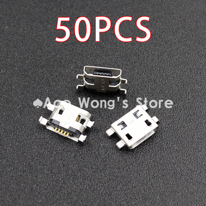 Гаджет  Wholesale 50pcs Micro USB 5pin B type Female Connector Flat Mouth Jack 0.8 Connector For Mobile Phone Charging Socket  (USB-4) None Электротехническое оборудование и материалы