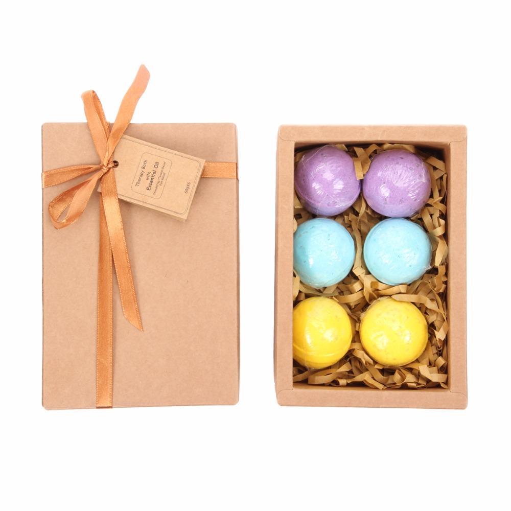 6 Pcs/pack 3 Scents Eucalyptus Lavender Orange Handmade SPA Bath Fizzies Best Relaxation Organic Natural Bath ball Bombs M0900
