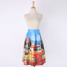 New Spring Summer Style Women Fashion Skirt Retro Scenery Oil Painting Print Skirt High Waist Pleated Skirt