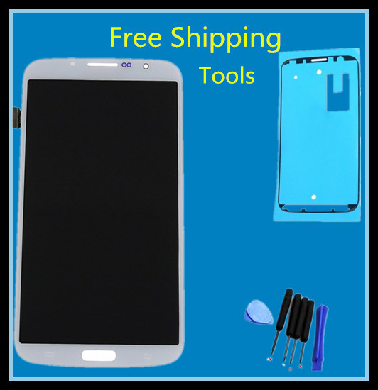 For Samsung Galaxy Mega 6.3 i9200 i9205 LCD Touch Screen with Digitizer Assembly + Tools + adhesive , White Free shipping(China (Mainland))