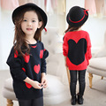 2016 New Children Sweater Heart Design Girls Batwing Sleeves Knitted Sweater 3 8Years Old Baby Knitting
