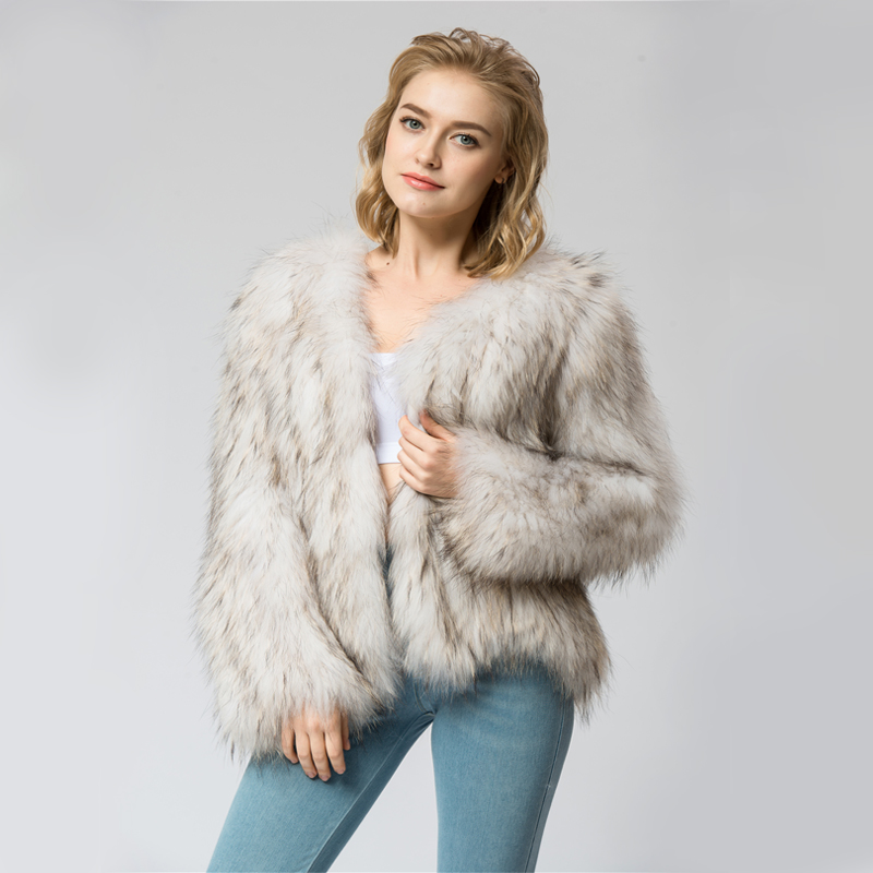CR070 knit knitted 100% Real raccoon fur coat jacket overcoat Russian women's fashion winter warm genuine fur coat ourwear(China (Mainland))