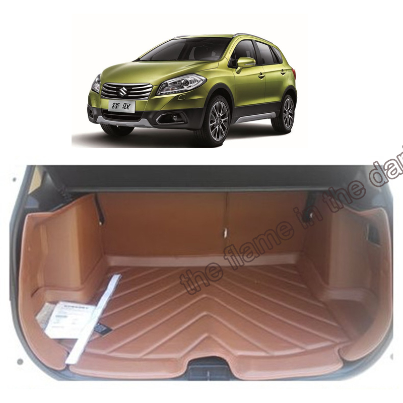 free shipping 5d full cover fiber leather waterproof car trunk mat for suzuki sx4 s-cross 2013-2017 2nd genration<br><br>Aliexpress