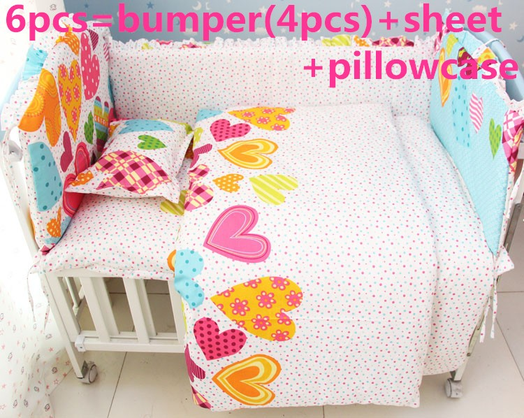 Акция! 6шт детская кроватка комплект постельных принадлежностей занавес кроватку бампер в детскую кроватку комплекты детское постельное бампер (бортики+лист+наволочка)