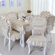 North European Style Crocheted Dinning Purple  Wedding Chair Cover 6pcs Covers+6pcs Mats+1 Tablecloth 13pcs/Set  HH16012C(China (Mainland))