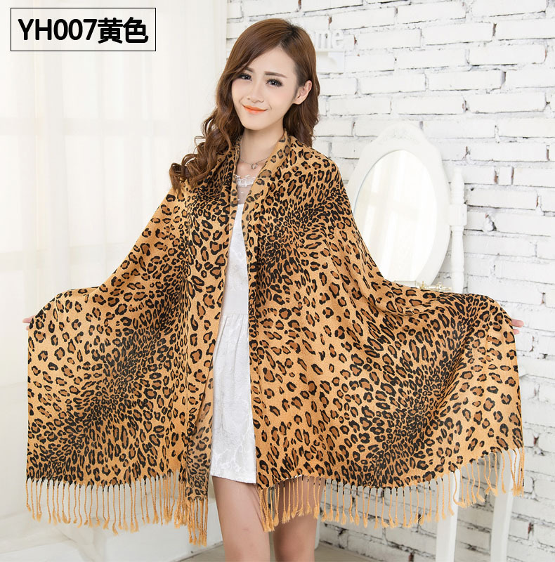 6 Colors new HOT Fashion Animal Print Shawl Leopard grain ladies scarf Cotton Blends big size women scarves Free Shipping(China (Mainland))