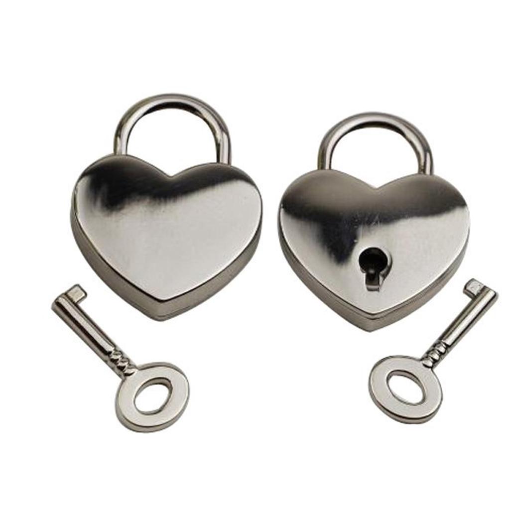 New Hot Sale Mini Padlock Heart Shape Luggage Case Padlock With Key Silver Home Improvement Hardware Travel Accessory Alloy Lock(China (Mainland))