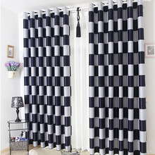 European Brief White Black Coffee Plaid Blackout/Sheer Window Curtains For Living room Bedroom Curtains Drapes Cortinas para(China (Mainland))