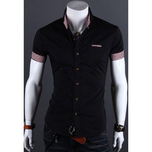 2015 New Fashion Men Shirt Summer Style Fitting Short Sleeve Mens Dress Shirts Shirts Polyester Casual Shirts Men Clothes(China (Mainland))