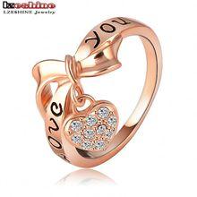 LZESHINE Brand Black Enamel Love You Ring Heart Bow 18K Rose Gold Plate Austrian Crystal SWA Elements Rings Word Ring ITL-RI0024