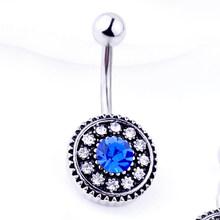 1PC פלדת טבעות Crystal פירסינג טבור לב סגנון פירסינג טבור עגיל בטן פירסינג מין גוף תכשיטי פירסינג(China)
