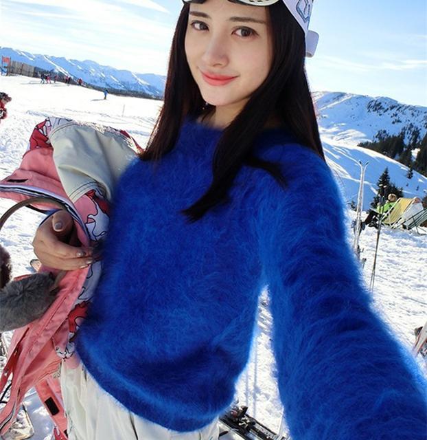 Новинка женский вязаный свитер из натуральной длинношерстной норки. Бесплатная доставка