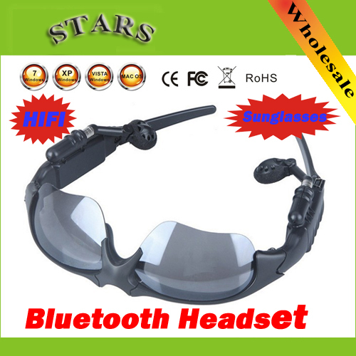 Wholesale Free shipping Sports Sunglasses Wireless Bluetooth Headset Music Foldable Hi-Fi Headphone for iPhone Cellphone(China (Mainland))