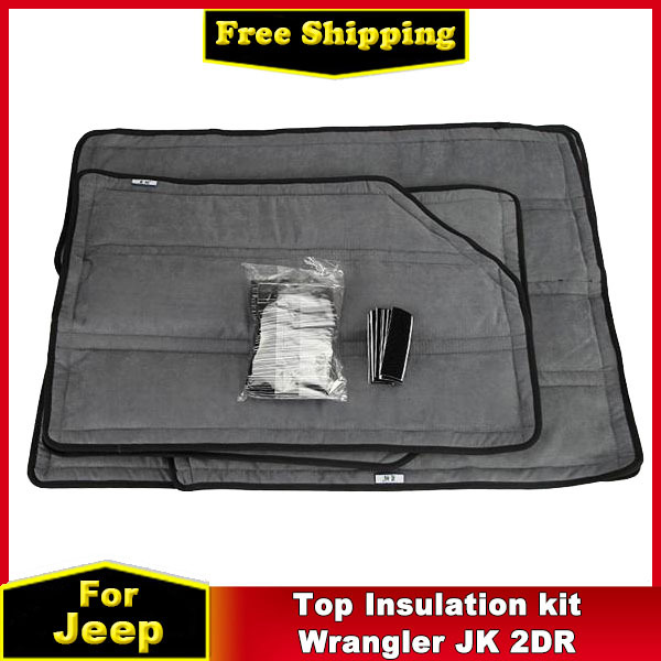 4 pcs Hard Top Cotton Insulation Cover Kit for Jeep Wrangler JK 2DR Soundproof Deadener Car Accessories(China (Mainland))