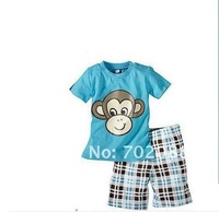 Retail 2015 baby boy clothing set boys t shirt +pants kids clothes sets with Monkey pattern,withno hat