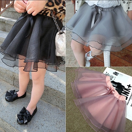 Girls Tutu Skirts Chiffon Skirts Aged 2-7 Solid Skirt 2015 Spring Summer Blended Suitable Height 90-130CM Gray Black Purple(China (Mainland))