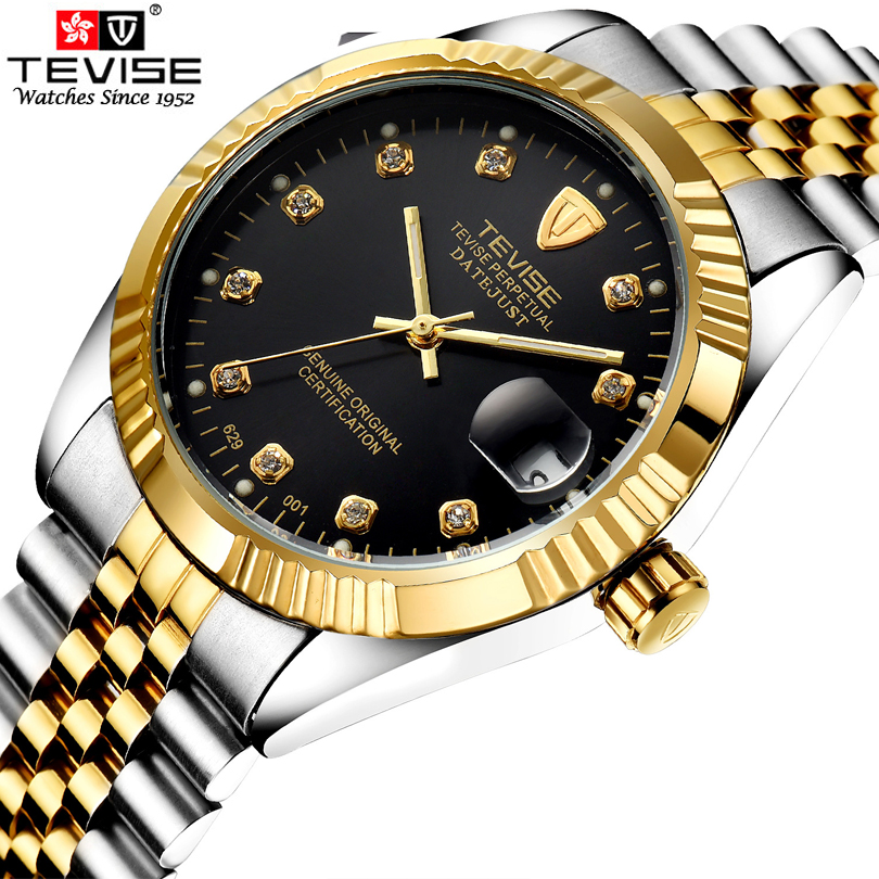 TEVISE Brand Men s Business stainless steel Watch Automatic Mechanical Calendar Rhinestone Gold Dial Watches Relogio