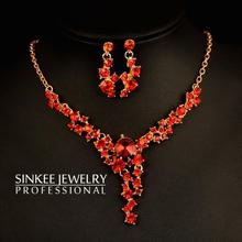 Classic Red & Blue Rhinestone Necklace Earrings Wedding Jewelry Sets Sinkee Tz116 Free Shipping 18K Gold Plated(China (Mainland))